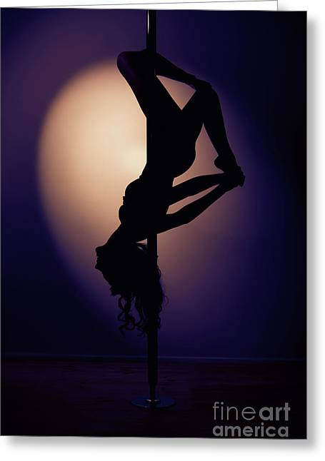 Upside Down Pole Dancer Greeting Card by Amanda And Christopher Elwell