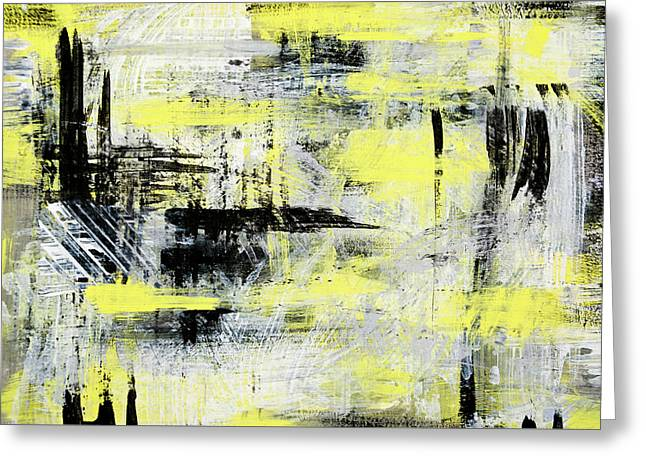 Lemon Art Greeting Cards - Urban Abstract Greeting Card by Christina Rollo