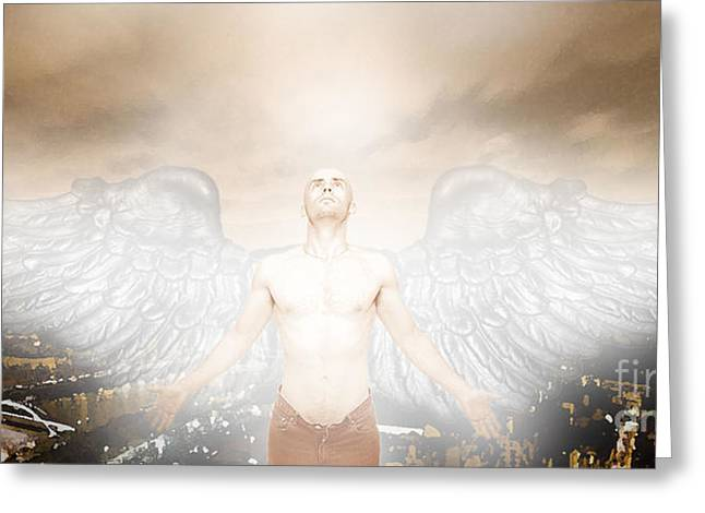 Urban Angel Greeting Card by Carrie Jackson