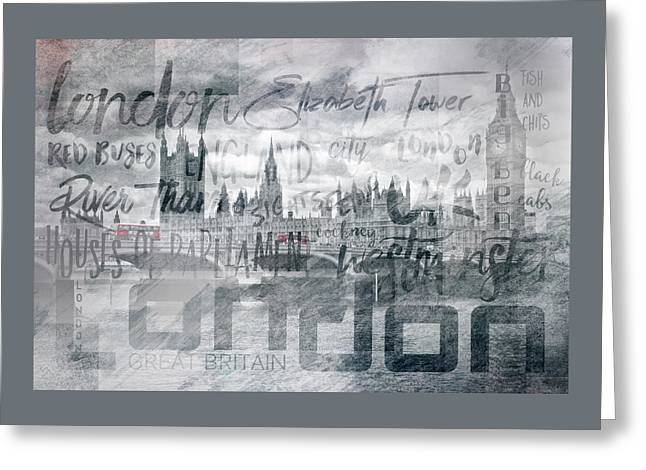 Urban-art London Houses Of Parliament And Red Buses I Greeting Card by Melanie Viola