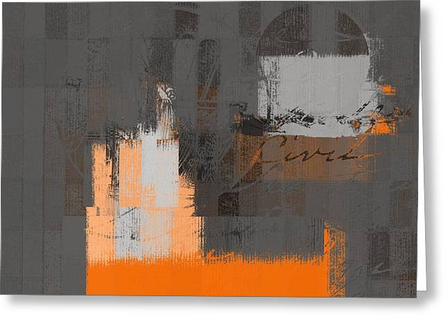 Rectangles Greeting Cards - Urban Artan - S0111 - Orange Greeting Card by Variance Collections