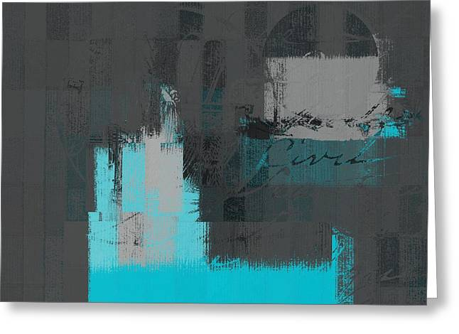 Abstract Shapes Greeting Cards - Urban Artan - s0111-turquoise Greeting Card by Variance Collections