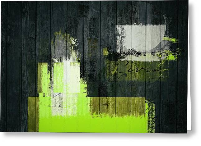 Abstract Shapes Greeting Cards - Urban Artan - s0112 - green Greeting Card by Variance Collections