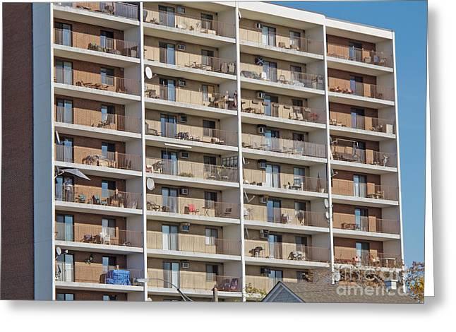 Greeting Cards - Urban Balconies Greeting Card by Ann Horn
