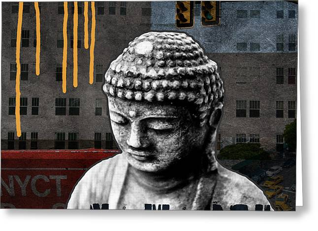 Street Lights Greeting Cards - Urban Buddha  Greeting Card by Linda Woods