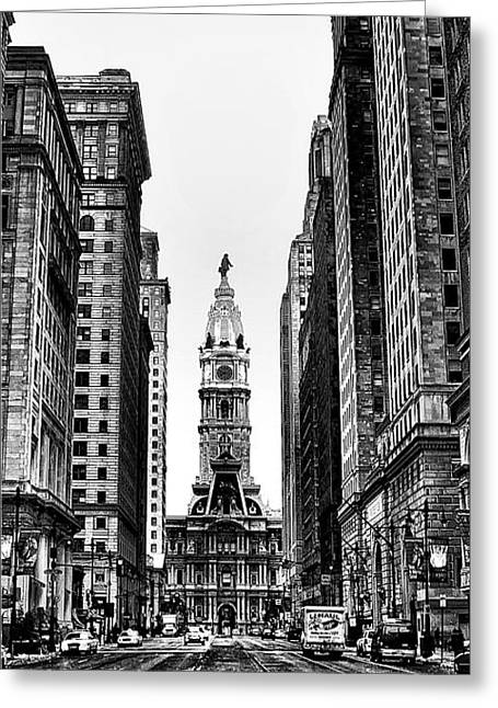 Bully Digital Greeting Cards - Urban Canyon - Philadelphia -  Triptych 2 Greeting Card by Bill Cannon