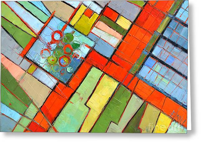 Geometric Style Greeting Cards - Urban Composition - Abstract Zoning Plan Greeting Card by Mona Edulesco