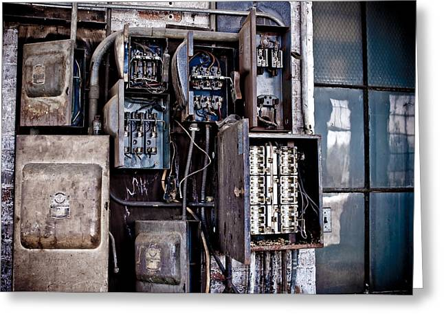 Electric Building Greeting Cards - Urban Decay  Fuse Box Greeting Card by Edward Myers