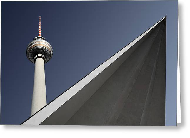 Television Tower Greeting Cards - Urban Geometry Greeting Card by Markus Kuhne