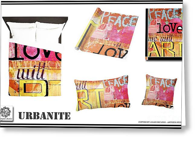 Houzz Greeting Cards - Urban Graffiti Teen Bedding and Decor Greeting Card by Anahi DeCanio - ArtyZen Studios