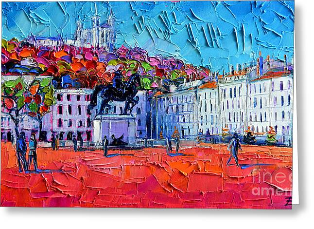 Expressionist Horse Greeting Cards - Urban Impression - Bellecour Square In Lyon France Greeting Card by Mona Edulesco