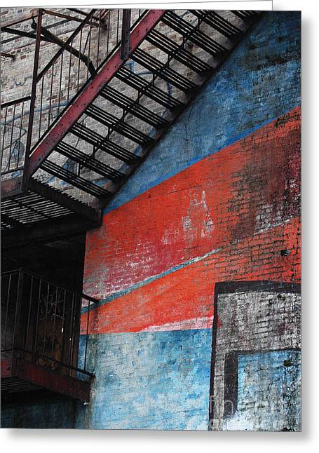 Gotham City Greeting Cards - Urban Landscape - Geometric  Firescape in Red and Blue Greeting Card by Anahi DeCanio