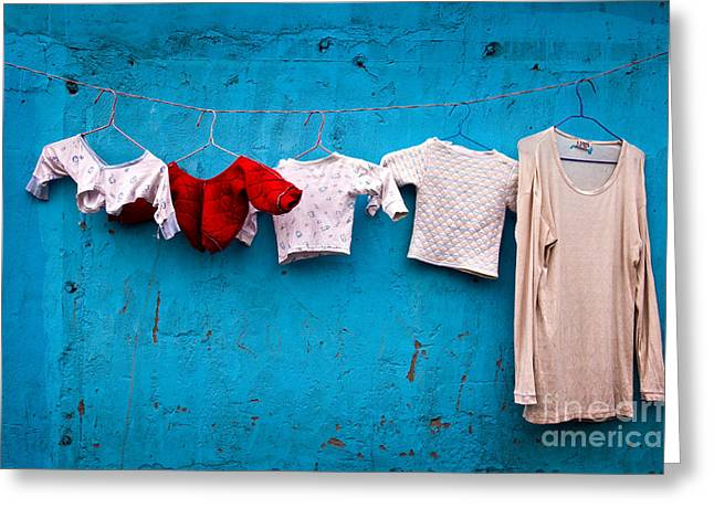 Hanging Laundry Greeting Cards - Urban laundry Greeting Card by Delphimages Photo Creations