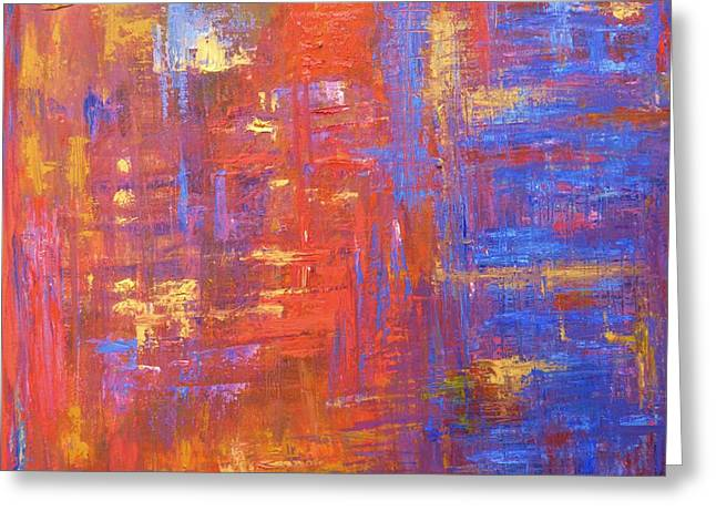 Faa Featured Paintings Greeting Cards - Urban Lights Greeting Card by Marla McPherson