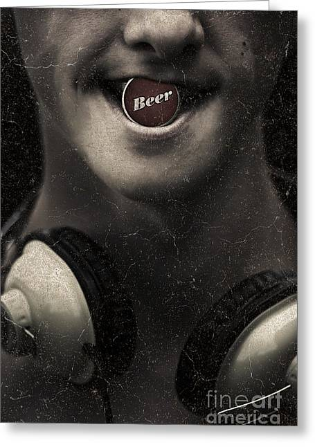 Stylized Beverage Greeting Cards - Urban man wearing headphones and beer cap in mouth Greeting Card by Ryan Jorgensen
