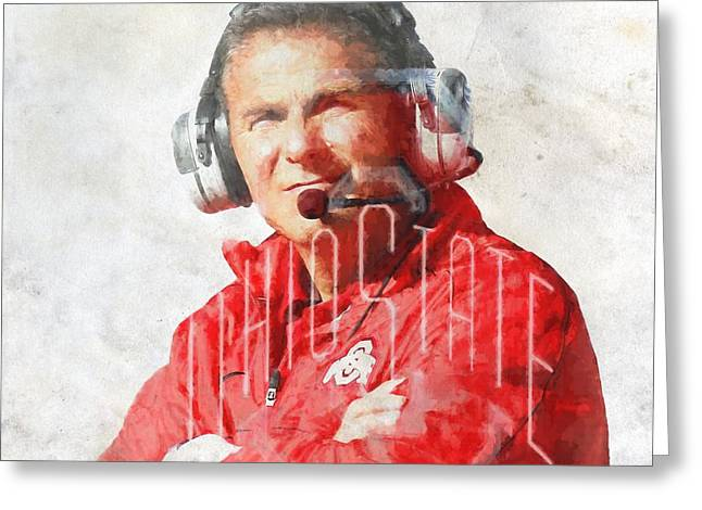The Ohio State University Greeting Cards - Urban Meyer Greeting Card by Dan Sproul