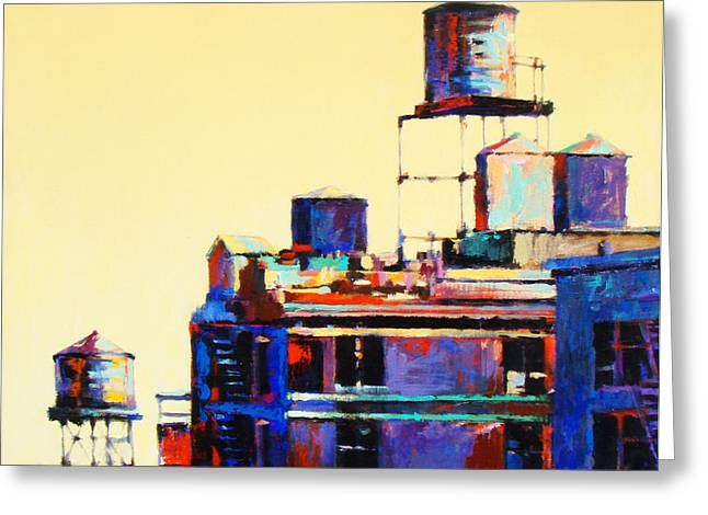 New York City Paintings Greeting Cards - Urban Rooftops Greeting Card by Patti Mollica