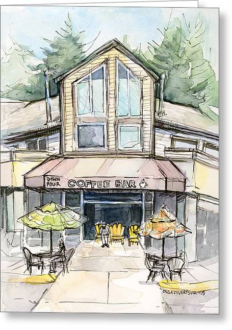 Coffee Mixed Media Greeting Cards - Urban Sketch Coffee Bar Watercolor Greeting Card by Olga Shvartsur