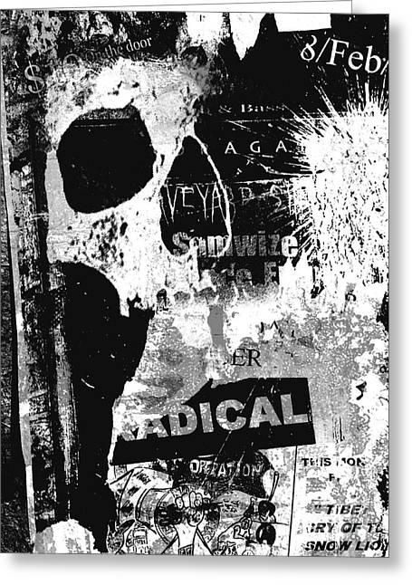 Urban Skull Greeting Card by Roseanne Jones