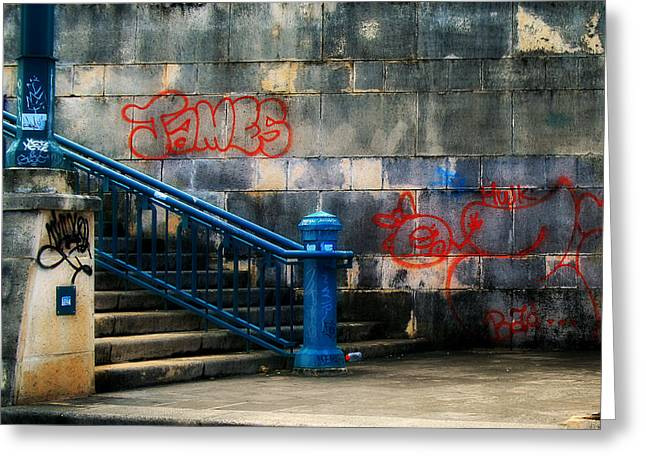 Graffiti Steps Greeting Cards - Urban Steps Greeting Card by Perry Webster