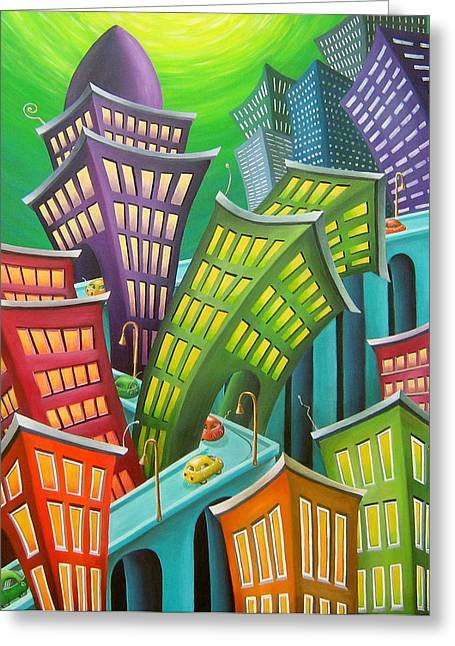 Urban Paintings Greeting Cards - Urban Vertigo Greeting Card by Eva Folks