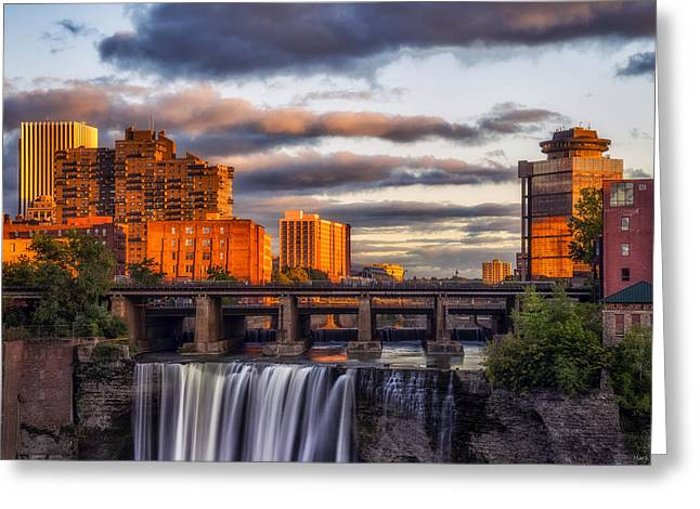 High Falls Gorge Greeting Cards - Urban Waterfall Greeting Card by Mark Papke