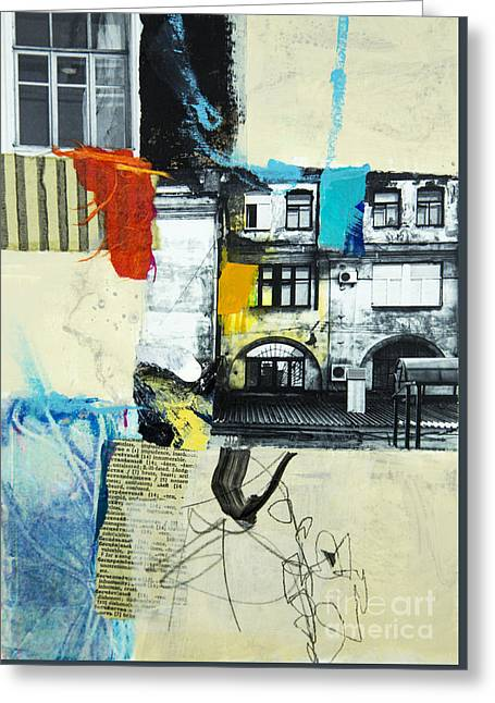 Red Buildings Mixed Media Greeting Cards - Urbanesque Greeting Card by Elena Nosyreva
