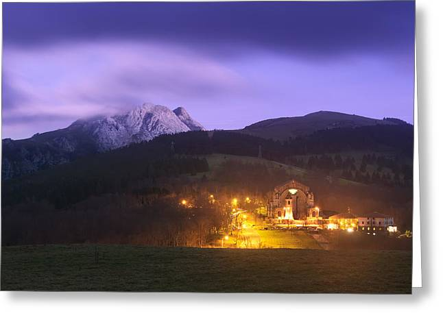 Pais Vasco Greeting Cards - Urkiola sanctuary at night Greeting Card by Mikel Martinez de Osaba