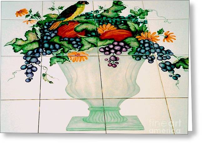 Leafs Ceramics Greeting Cards - Urn of Fruit with Bird Greeting Card by Sandra Maddox