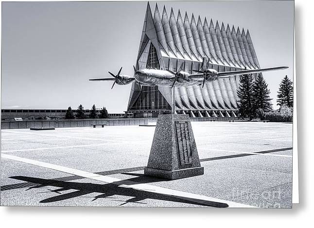 Historic Statue Greeting Cards - US Air Force Academy Chapel bw Greeting Card by Jerry Fornarotto
