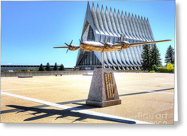 Historic Statue Greeting Cards - US Air Force Academy Chapel Greeting Card by Jerry Fornarotto