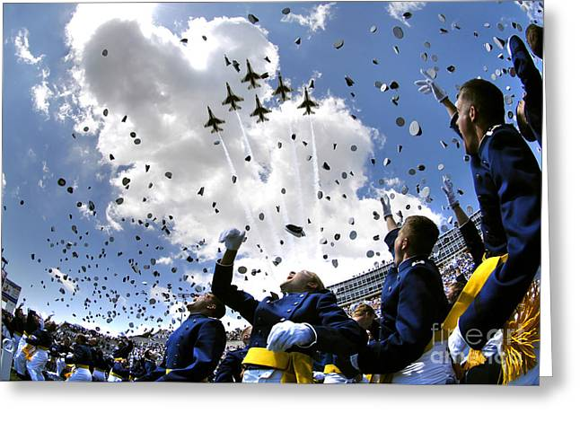 Uniformed Greeting Cards - U.s. Air Force Academy Graduates Throw Greeting Card by Stocktrek Images
