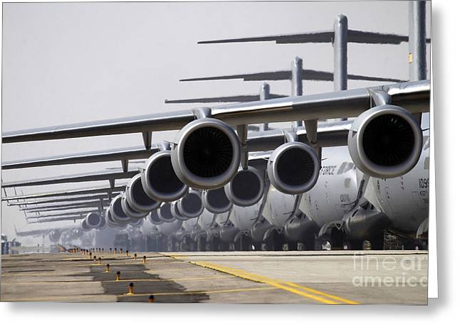 Freight Aircraft Greeting Cards - U.s. Air Force C-17 Globemaster Iiis Greeting Card by Stocktrek Images