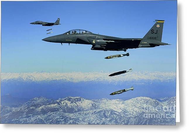 Dropping Greeting Cards - U.s. Air Force F-15e Strike Eagle Greeting Card by Stocktrek Images