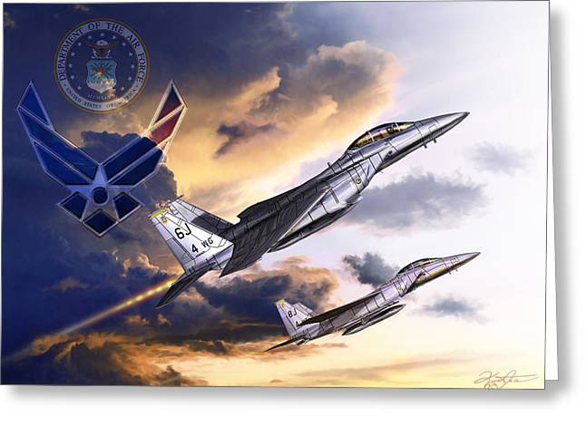 Jet Star Mixed Media Greeting Cards - US Air Force Greeting Card by Kurt Miller