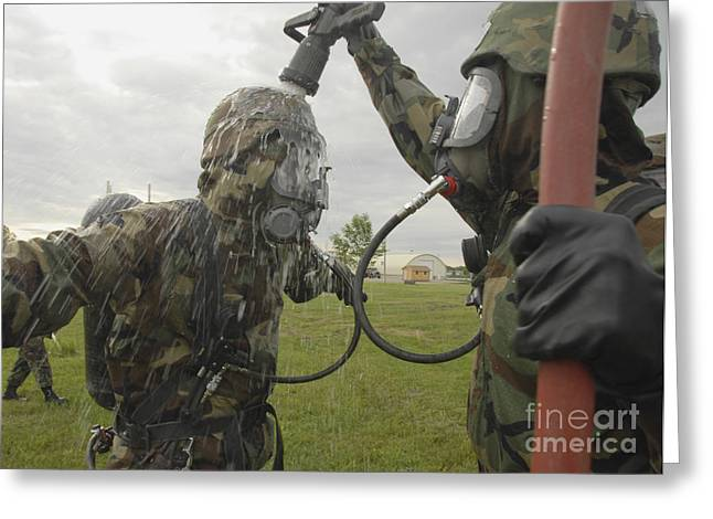 Hazmat Greeting Cards - U.s. Air Force Soldier Decontaminates Greeting Card by Stocktrek Images