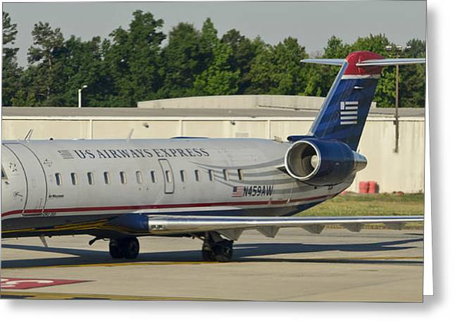 Us Airways Express Jet Plane Greeting Card by David Oppenheimer