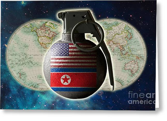 Clash Of Worlds Greeting Cards - U.s. And North Korean Conflict Greeting Card by George Mattei