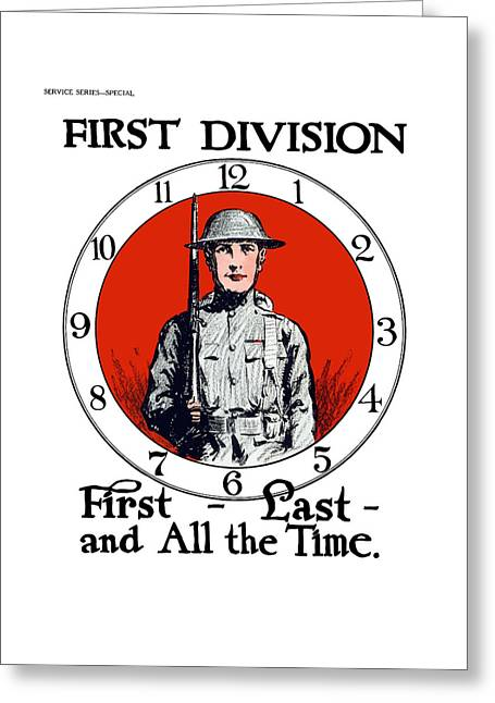 Wwi Greeting Cards - US Army First Division - WW1 Greeting Card by War Is Hell Store