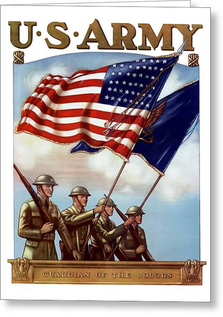 Political Mixed Media Greeting Cards - US Army -- Guardian Of The Colors Greeting Card by War Is Hell Store