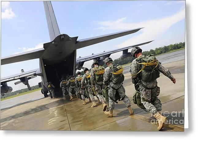 U.s. Army Rangers Board A U.s. Air Greeting Card by Stocktrek Images