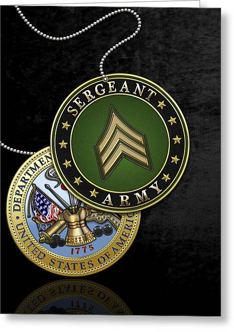 Cap Sleeves Greeting Cards - U.S. Army Sergeant - S G T Rank Insignia and Army Seal over Black Velvet Greeting Card by Serge Averbukh