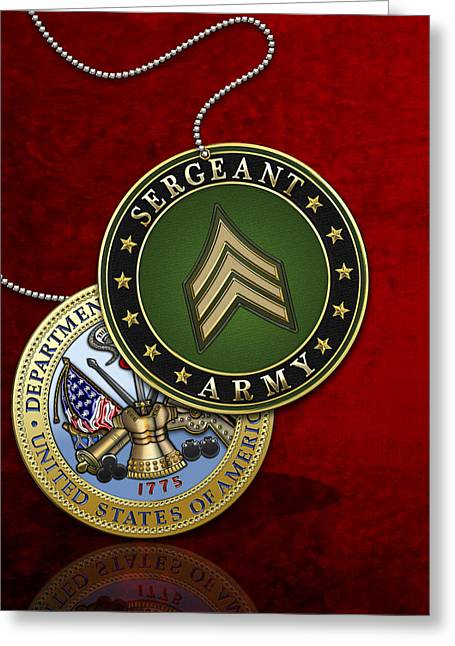 Cap Sleeves Greeting Cards - U.S. Army Sergeant - S G T Rank Insignia and Army Seal over Red Velvet Greeting Card by Serge Averbukh