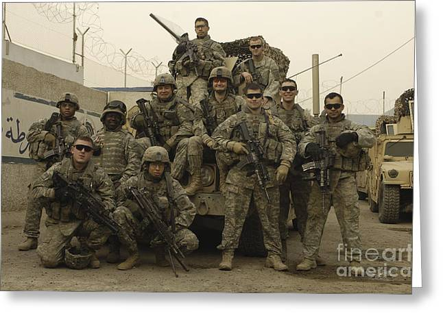 Baghdad Greeting Cards - U.s. Army Soldiers Pose For A Photo Greeting Card by Stocktrek Images