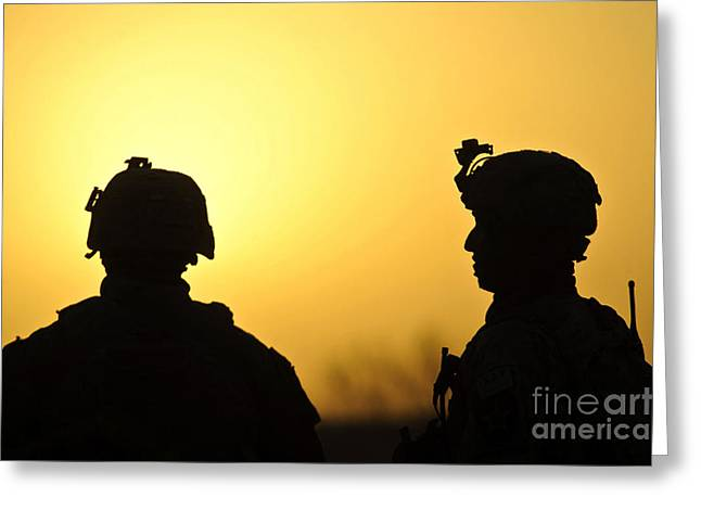 Operation Greeting Cards - U.s. Army Soldiers Silhouetted Greeting Card by Stocktrek Images