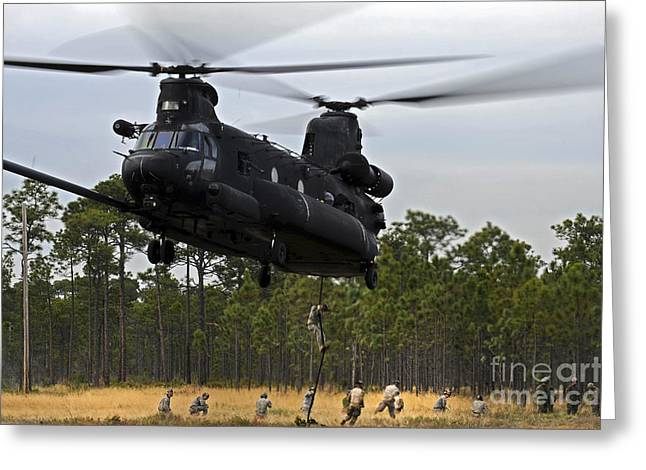 Fast Rope Greeting Cards - U.s. Army Special Forces Fast Rope Greeting Card by Stocktrek Images