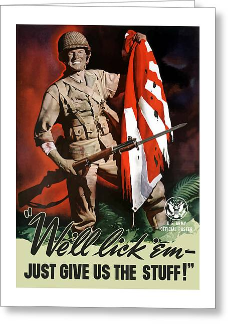 Army Soldier Greeting Cards - US Army -- World War Two Propaganda Greeting Card by War Is Hell Store