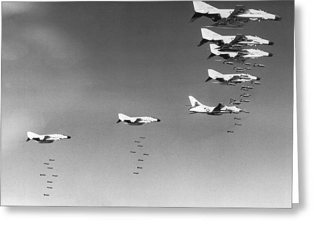 U.s. Bombing North Vietnam Greeting Card by Underwood Archives