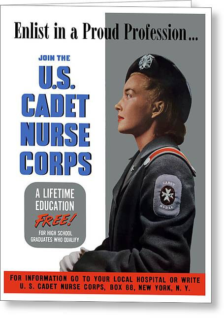 Political Mixed Media Greeting Cards - US Cadet Nurse Corps Greeting Card by War Is Hell Store