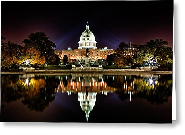 National Mall Greeting Cards - US Capitol Building and Reflecting Pool at Fall Night 1 Greeting Card by Val Black Russian Tourchin